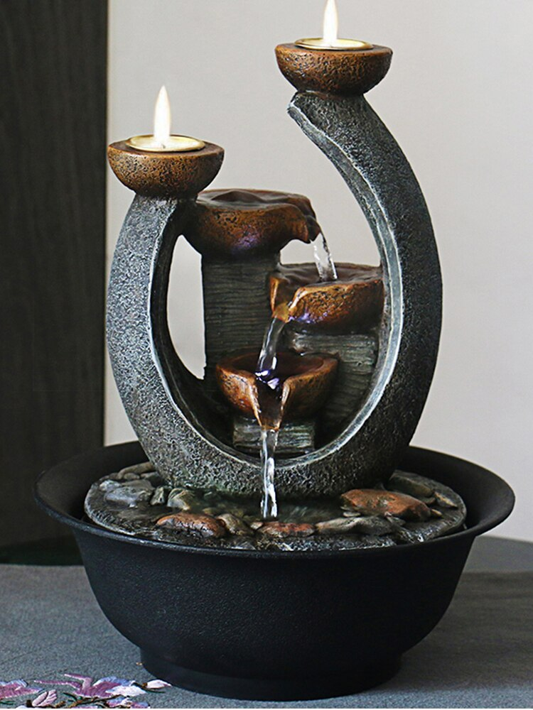 Multifunction Indoor Water Fountain & Candle Holders With LED Lights - AmineMarket-Online shopping for the latest Products