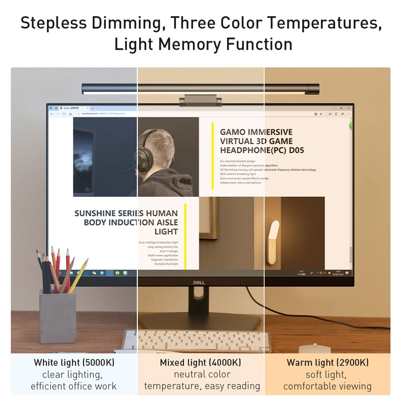Adjustable Screen Hanging Lamp USB Rechargeable Light for Office Home - AmineMarket-Online shopping for the latest Products