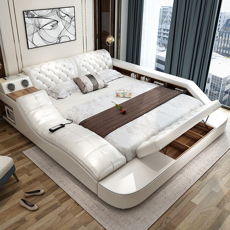 Leather Bed With Massage Function White Latest Multi-Function Modern Real Genuine - AmineMarket-Online shopping for the latest Products