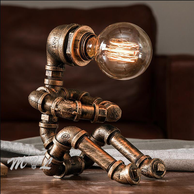 Vintage Table Lamps Retro Water Pipe Robot Desk Lamp Home Decor - AmineMarket-Online shopping for the latest Products