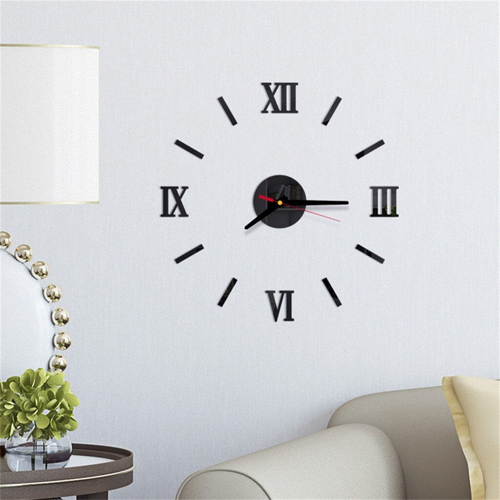 Mirror Wall Sticker Clock living Home Decor Mural Decals - AmineMarket-Online shopping for the latest Products