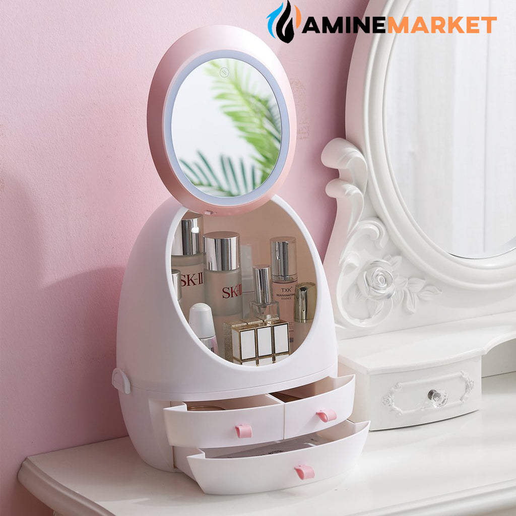 LED HD Mirror Makeup Storage Box Cosmetic Organizer Case - AmineMarket-Online shopping for the latest Products