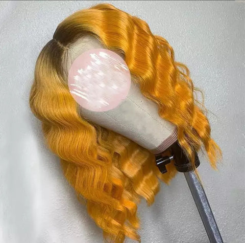 Orange w/ dark roots Wave Wig
