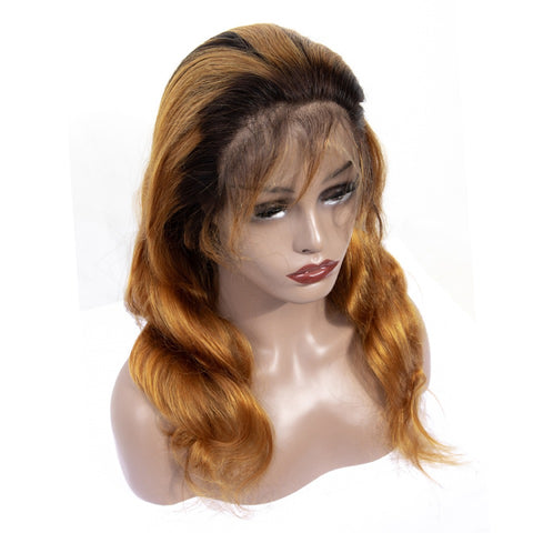 Brown w/ dark roots Body Wave Wig