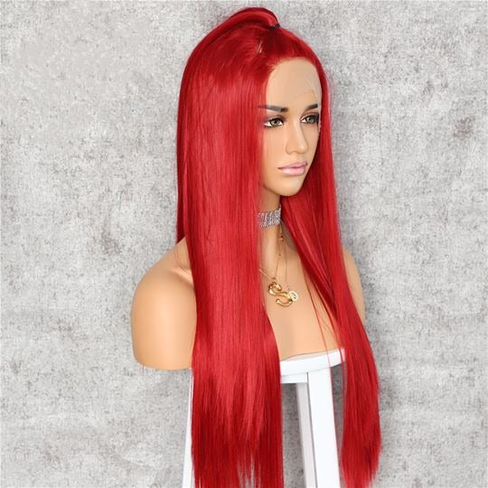 Red Straight Lace Wig