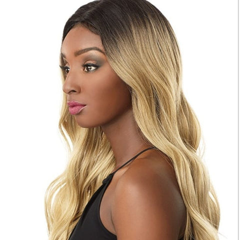 Blonde with dark roots Body Wave Wig