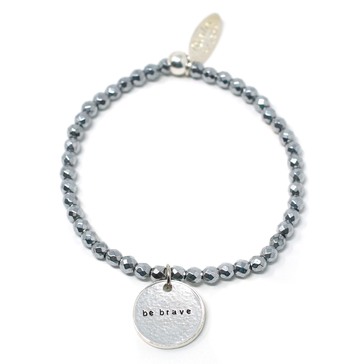 Be Brave (4mm Natural Stone Bracelet - Hematite, Silver)
