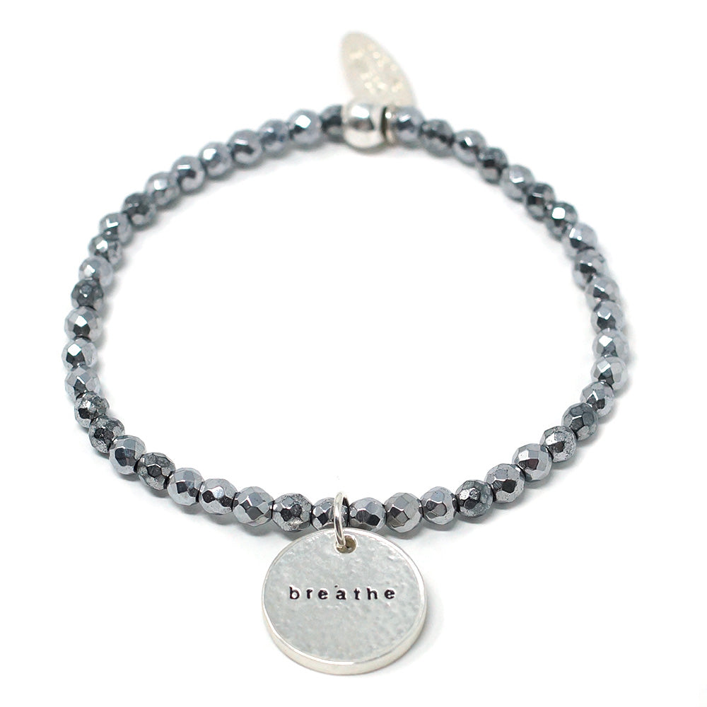 Breathe (4mm Natural Stone Bracelet - Hematite, Silver)