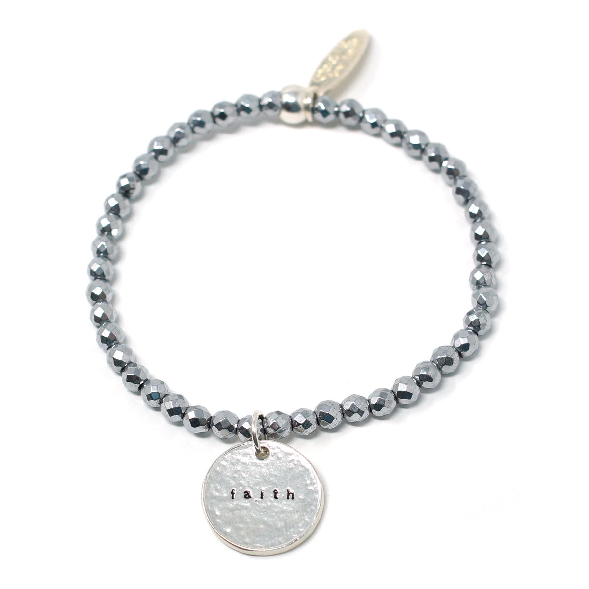 Faith (4mm Natural Stone Bracelet - Hematite, Silver)