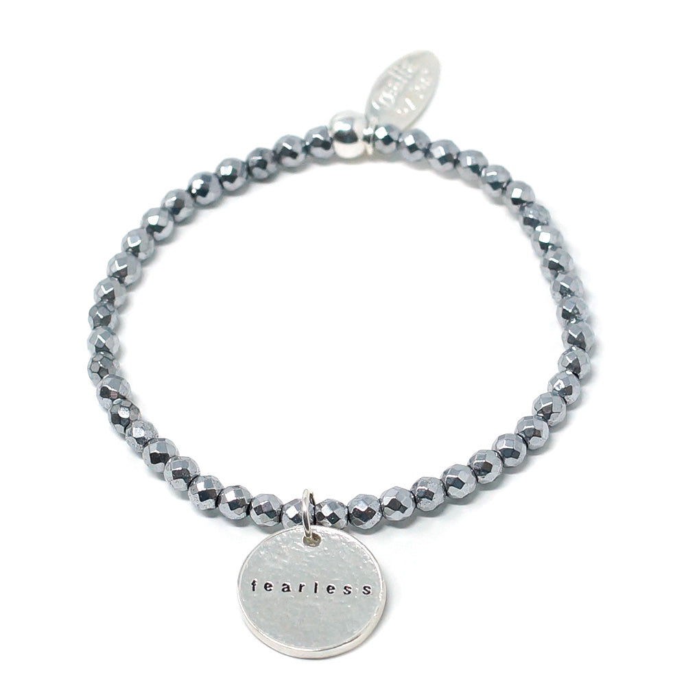 Fearless (4mm Natural Stone Bracelet - Hematite, Silver)