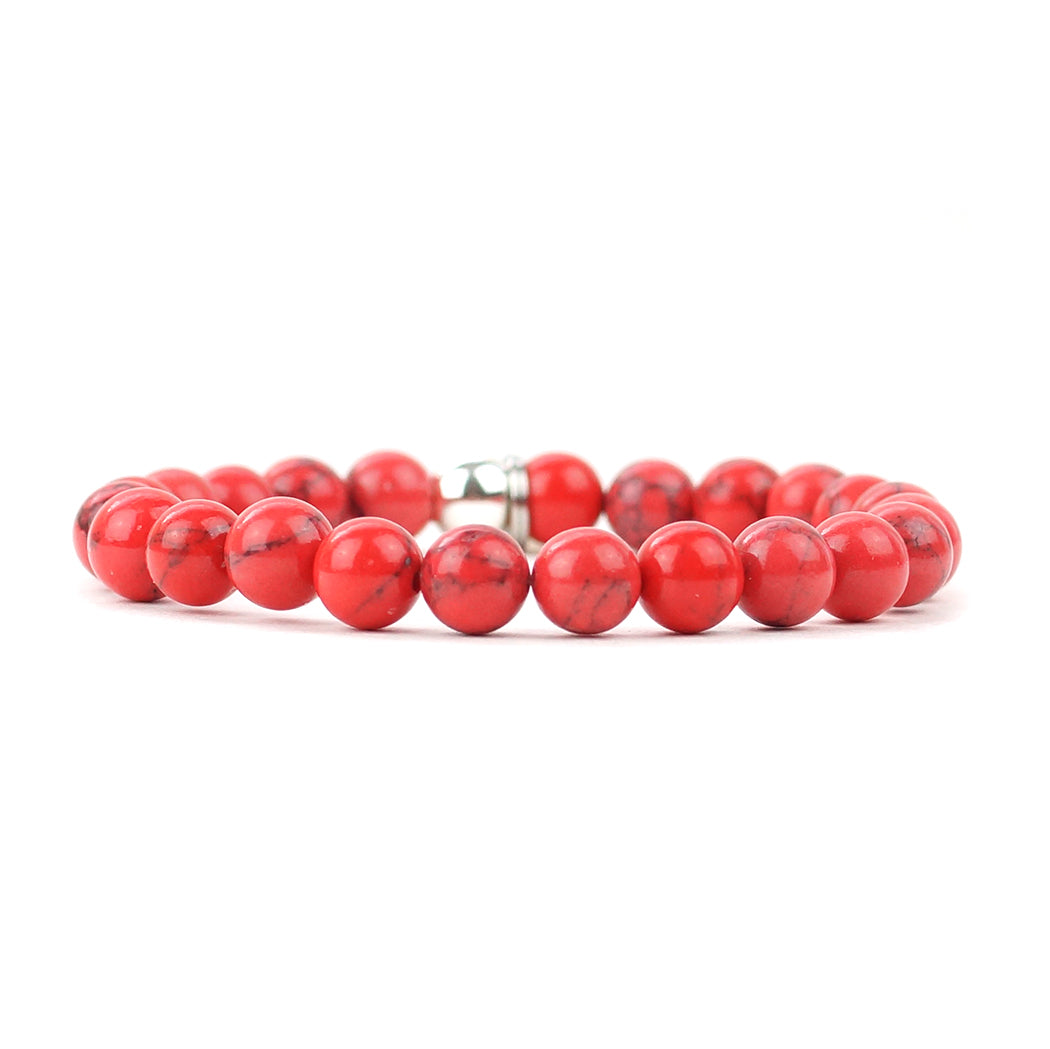Howlite - Orange Red Matte Natural Stone Bracelet (8MM)
