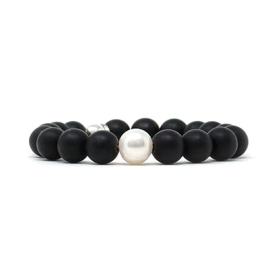 Pearl and Onyx Mixed Natural Stone Bracelet