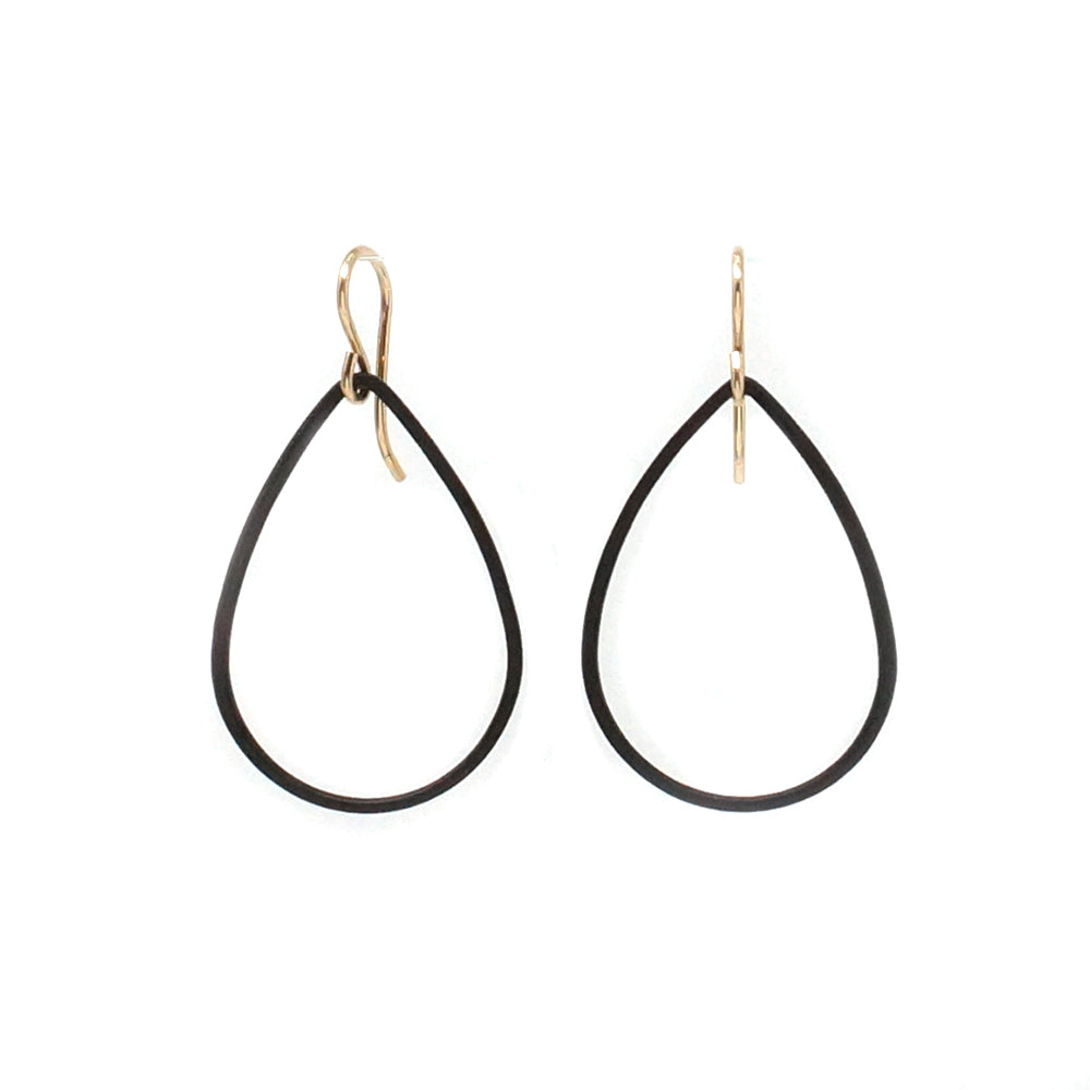 Matte Black Teardrop Hoop Earrings
