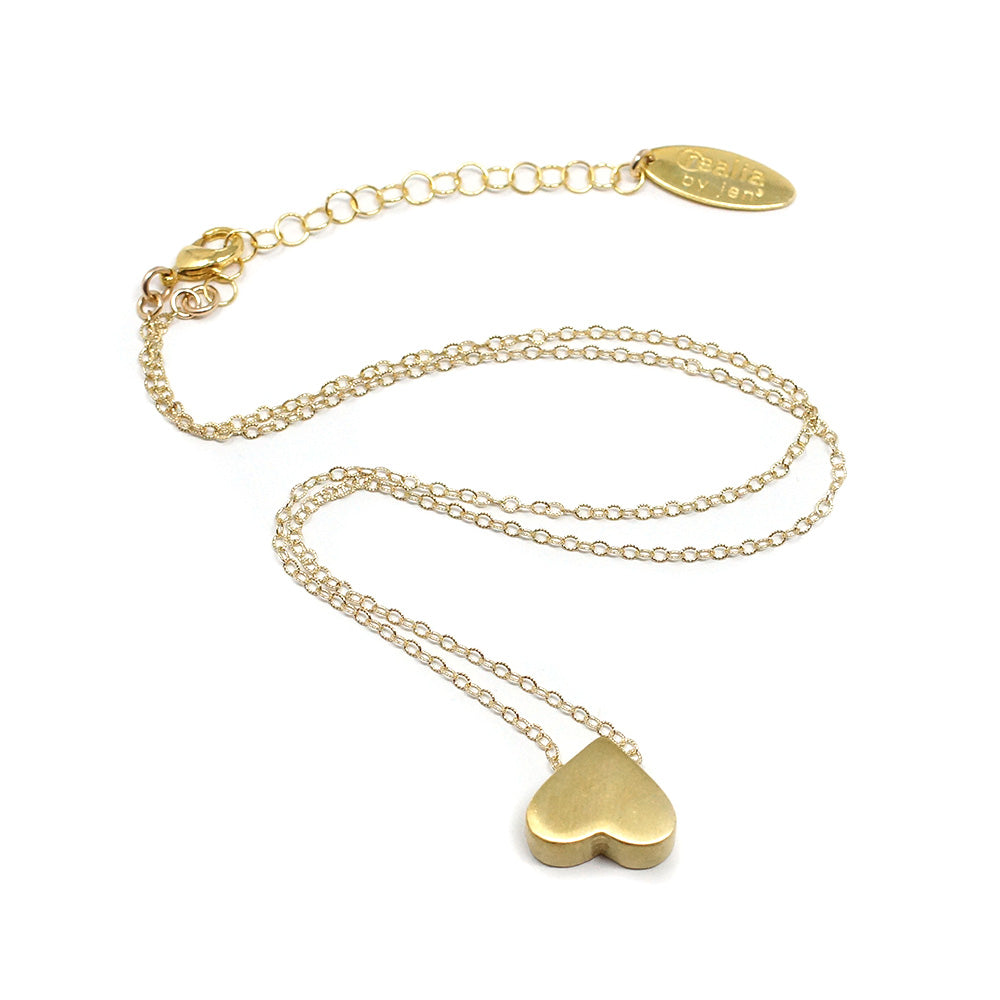 Upside Down Heart Necklace, Brass/Gold