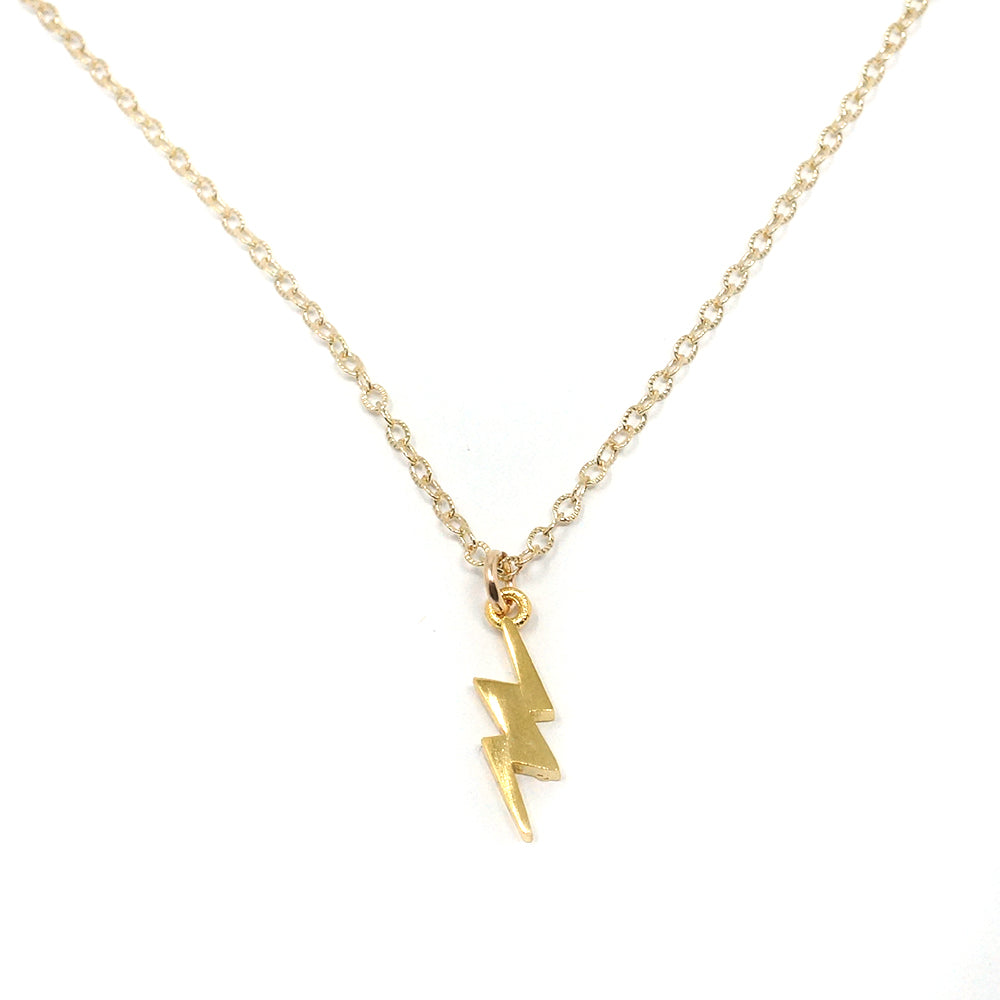 Lightning Bolt Necklace, Gold