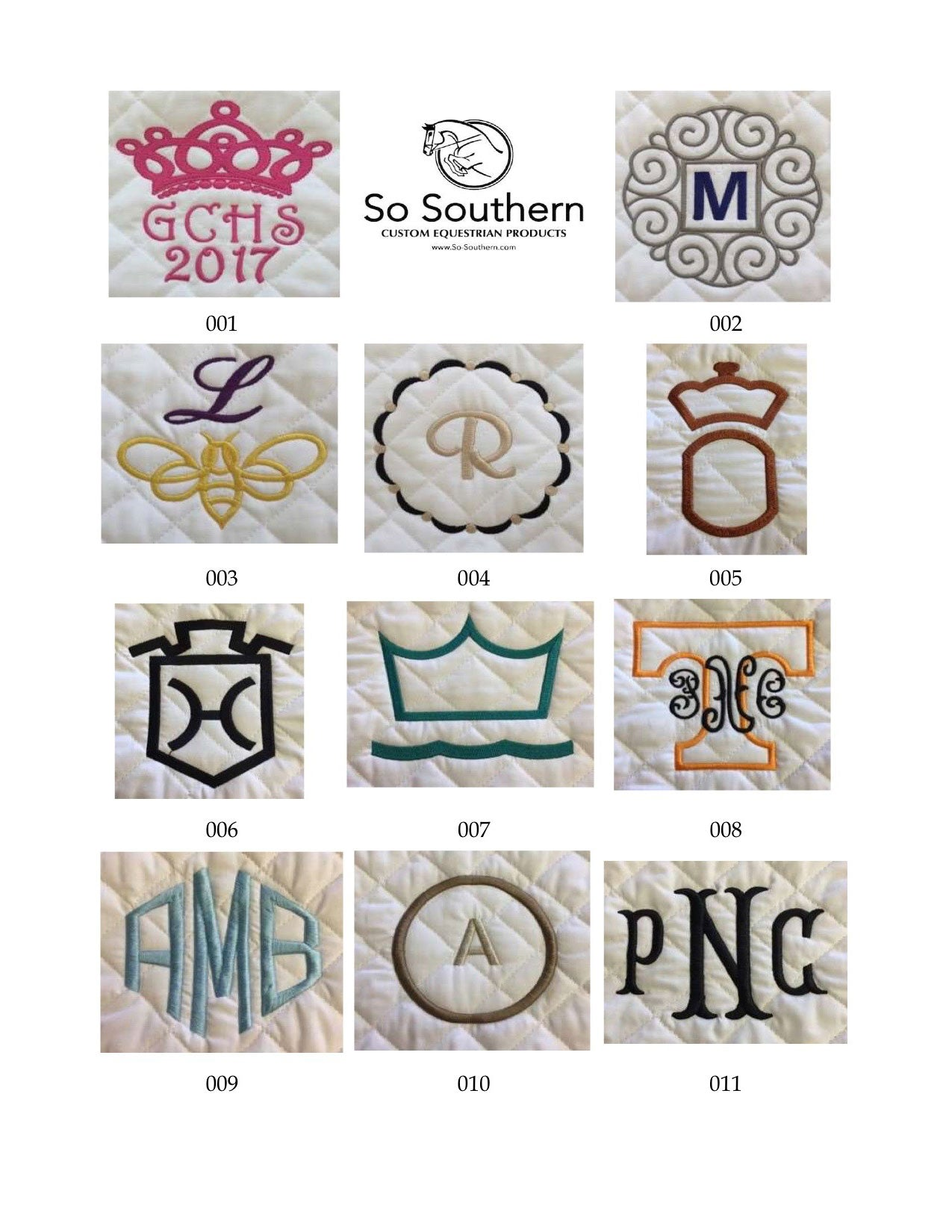 Monogramming & Font Options - page 1