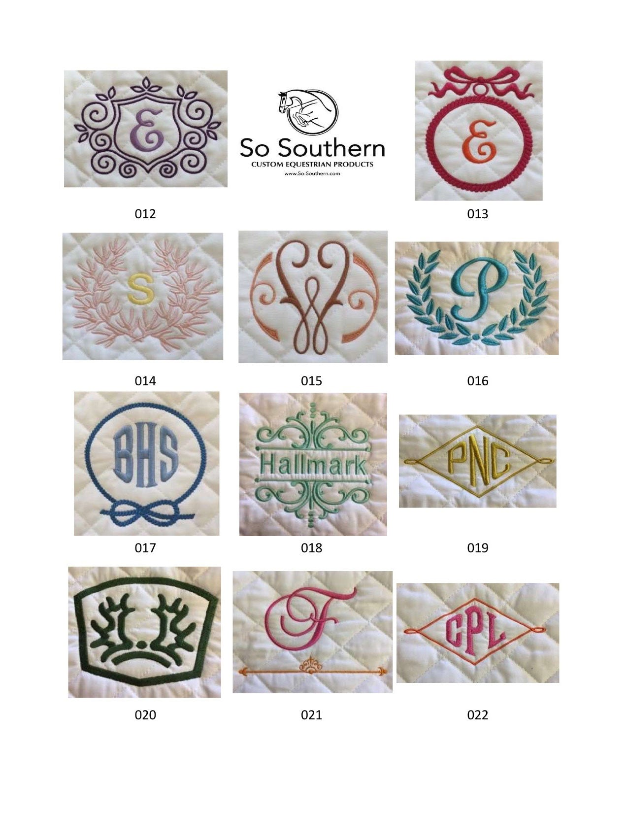 Monogramming & Font Options - page 2