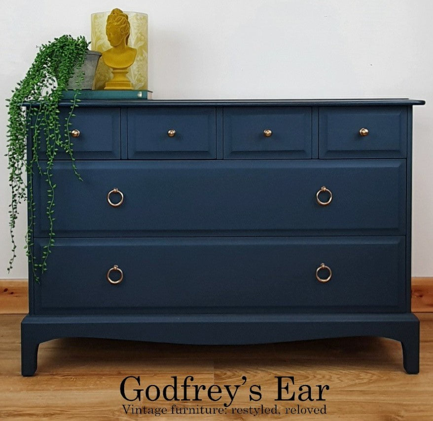 Stag chest of drawers, painted in Annabell Duke Modern Finish Mineral Paint - Imperial Blue