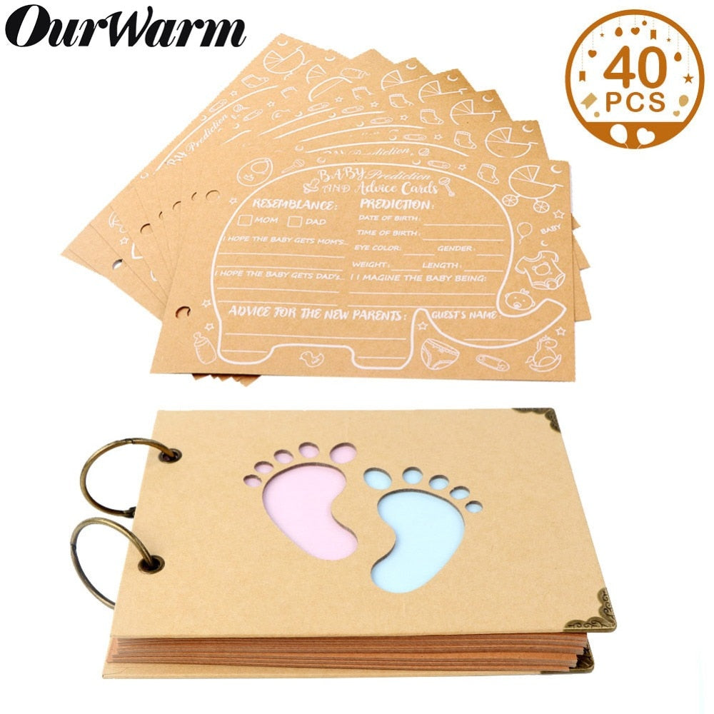 OurWarm Baby Shower Advice Cards Elephant Baby Shower Guest Book Sign in Book Birthday Guestbook Photo Ablums 19cm*14cm*2.1cm - Pro Toddlers