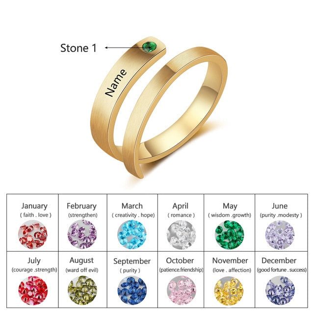 Personalized Birthstone Ring with Engraving