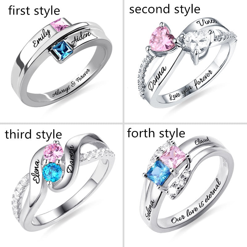 Personalized 925 Sterling Silver Custom Promise Ring With Birthstones Engrave Ring In Silver For Women