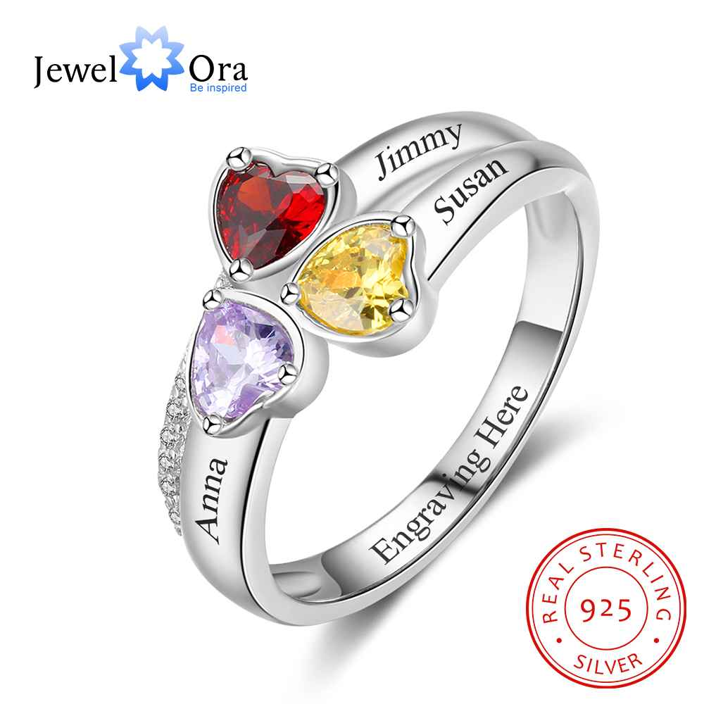 Heart Birthstone Personalized Engrave 3 Name Ring 925 Sterling Silver Anniversary Jewelry Gift For Mom (JewelOra RI103260)
