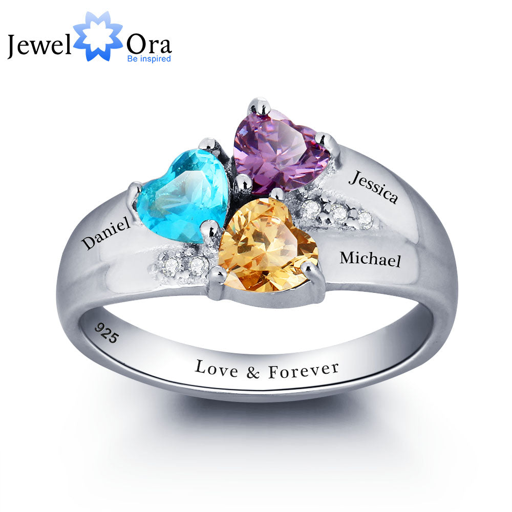 Mothers Rings Personalized Engrave Name Heart stone Jewelry 925 Sterling Silver Wedding Rings Birthday Gift (JewelOra RI101793)