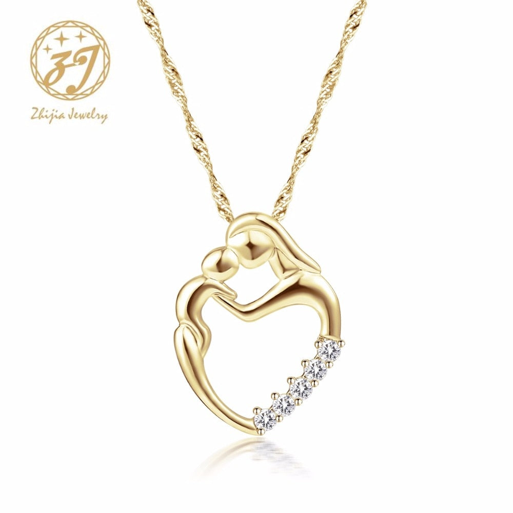 Zhijia Mother Baby Heart Charm Pendant