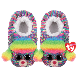 TY Beanie Boo Rainbow - Slipper Socks -  Colour changing reversible sequins - Small/Medium/Large