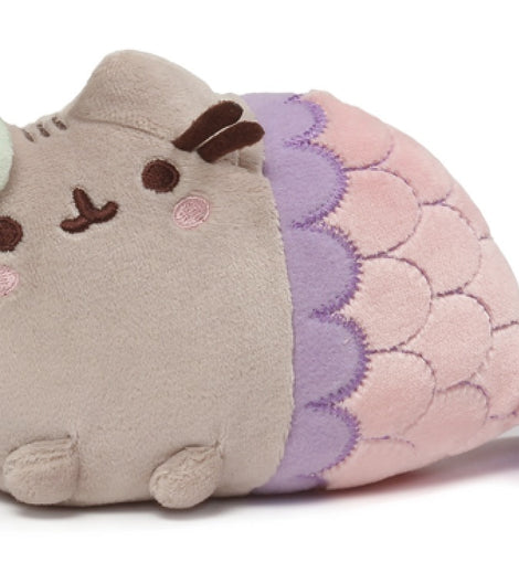Pusheen Spiral Shell Mermaid Stuffed Cat Plush, 18cm