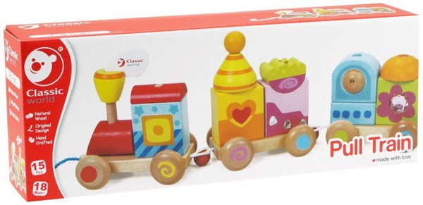 Pull Train by Classic World, One Size 15 Pieces - Wooden Toy