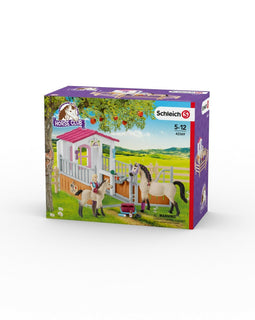 Schleich SC42369 Horse Stall with Horses and Groom Playset