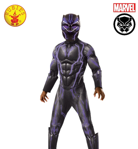 BLACK PANTHER SUPER DELUXE BATTLE COSTUME, LICENSED COSTUME ( 8-10 YRS)