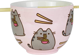 "Pusheen by Our Name is Mud Ramen Bowl and Chopsticks Set 4"" Pink"