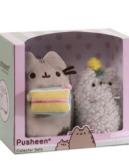 GUND Pusheen and Stormy Birthday Plush Stuffed Animals Collector, Gray, Set of 2 - 17CM