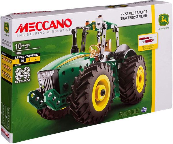 Meccano 18302 - John Deere 8R Series Tractor STEM Building Kit with Working Wheels, For Ages 10 and Up