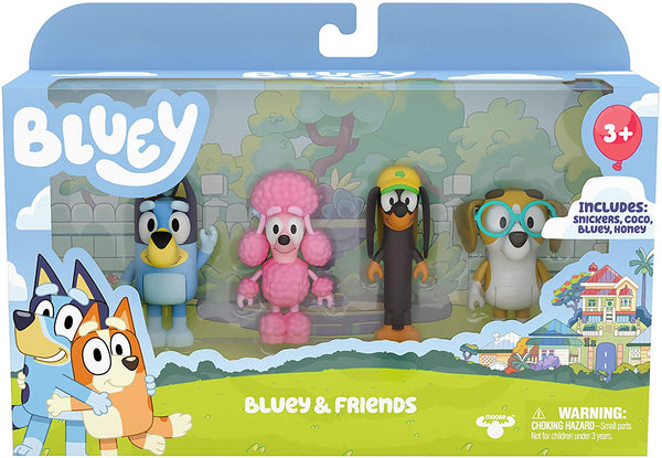 "Bluey and Friends 4 Pack of 2.5-3"" Poseable Figures, Including Bluey, Snickers, Coco, & Honey"