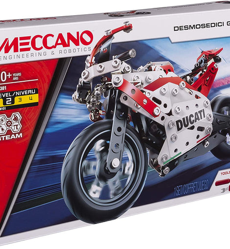 Meccano 18301 - Ducati Desmosedici GP STEM Building Kit with Coil-spring Suspension, for Ages 10 and Up