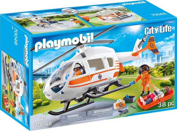 Playmobil 70048 City Life Hospital Emergency Helicopter with Landing Pad