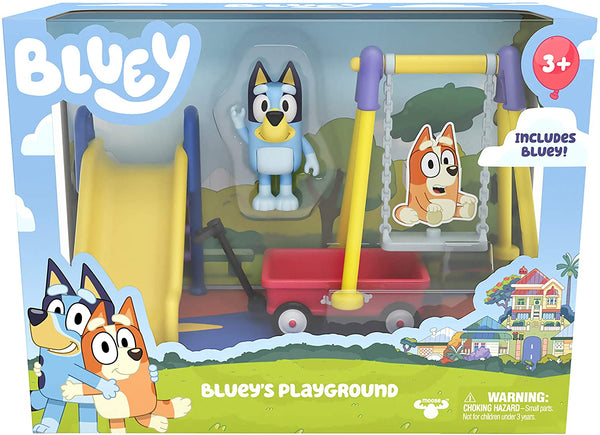 "Bluey Park Playset with Bluey 2.5"" Figure, Wagon, Swing Set, and Slide"
