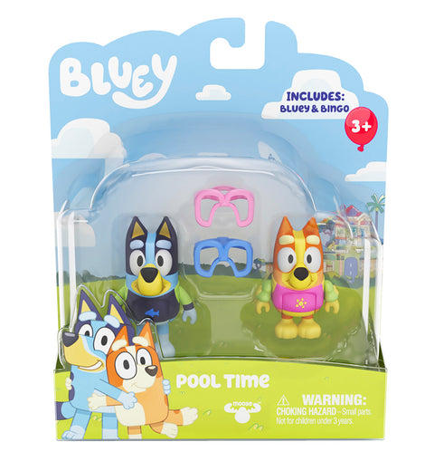 Bluey & Friends 2 Pack Figurine Playset - Pool Time