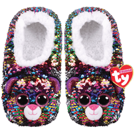 TY Beanie Boo Dotty - Slipper Socks -  Colour changing reversible sequins - Small/Medium/Large
