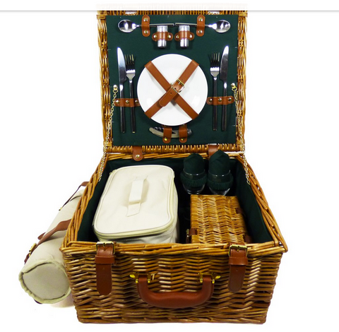 Image of The Ashby Wicker 2 Person Picnic Basket-regency gift store-Regency Gift Store