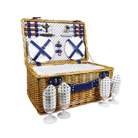 Image of The Lonsdale Wicker 4 Person Picnic Basket-regency gift store-Regency Gift Store