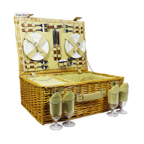 Image of The Sutton Wicker 4 Person Picnic Basket-regency gift store-Regency Gift Store