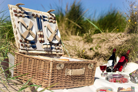 The Sutton 4 Person Wicker Picnic Basket with Food.  Luxury selection of mens gifts.