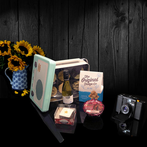 Mens Vintage Radio Nibbles Gift Tin.  One of our luxury gifts for men.