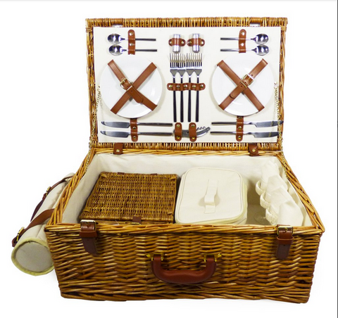 Image of The Sandringham Wicker 4 Person Luxury Picnic Basket-regency gift store-Regency Gift Store