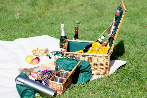 Image of The Ashby Wicker 2 Person Picnic Basket. The perfect picnic basket for all occasions.