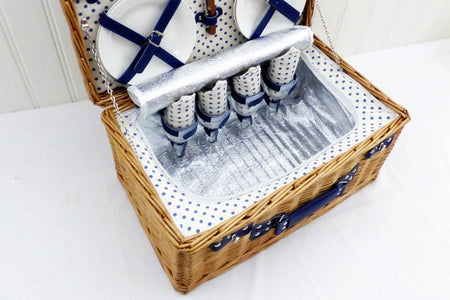 The Lonsdale 4 Person Wicker Picnic Basket with Food.  The perfect luxury picnic gift basket.